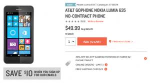 lumia 635 on at&T, lumia 635 radio shack, buy lumia 635 price