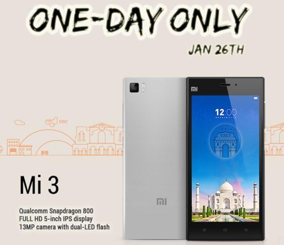 xiaomi mi3 sale in india