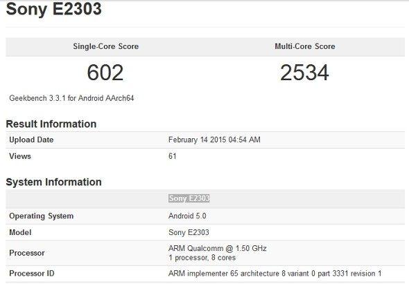 sony e2303, leak, rumors, handset, phone, android phone