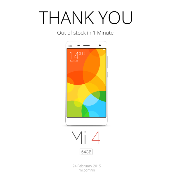xiaomi mi4, 64gb, india, price, sold out, 1 minute