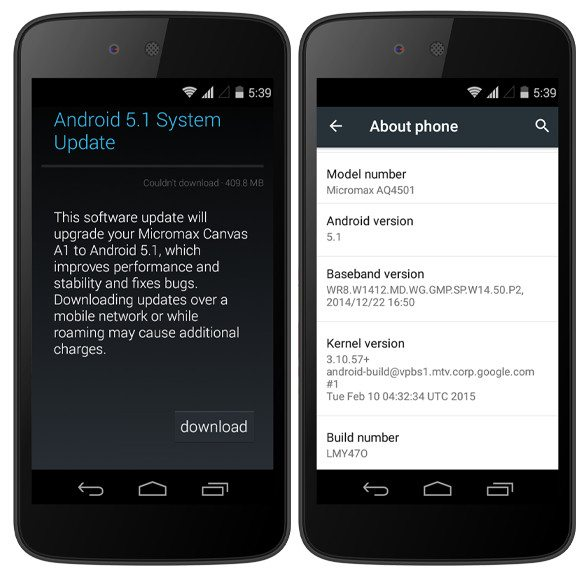 micromax canvas a1 android 5.1 lollipop update screenshot