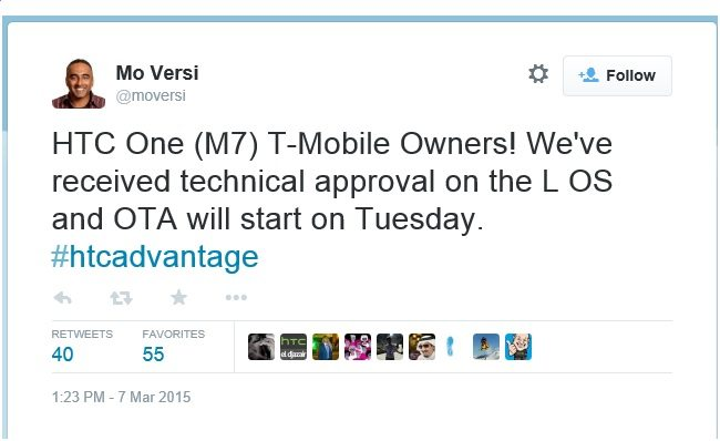 htc one m7, android lollipop update, firmware update, software, ota, t mobile, usa