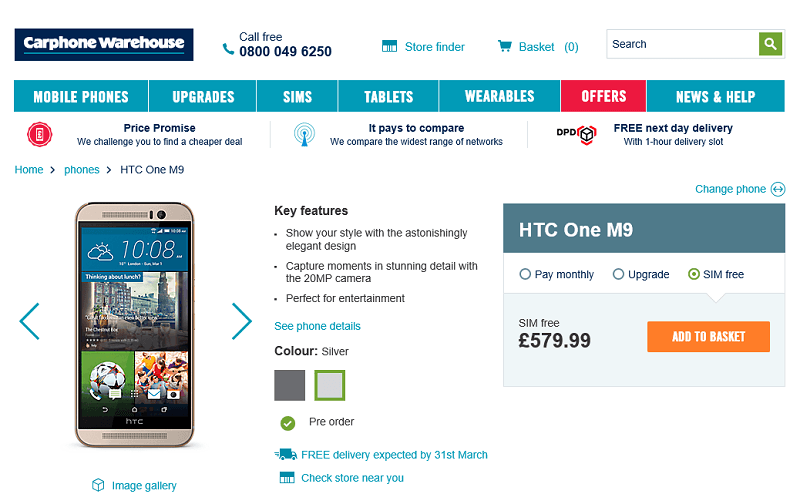 htc one m9, preorder in uk, price, shipping, available, release, buy now, offer, contract, sim free