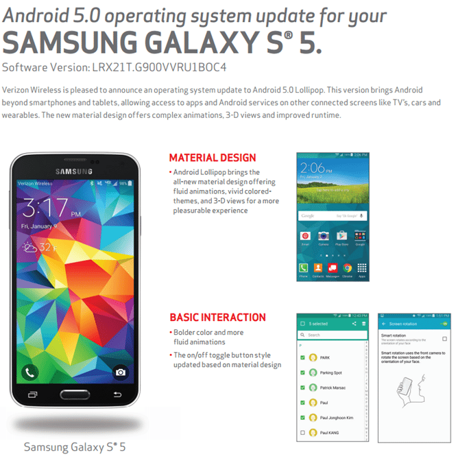 verizon samsung galaxy s5 android lollipop update, software update