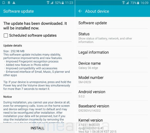 samsung galaxy s6 edge ota update in india