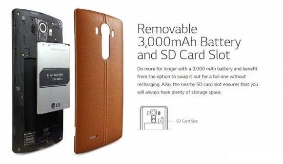 lg g4 has large 3000 mah removable battery