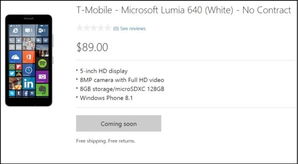 microsoft lumia 640, lumia 640 price in u.s., lumia 640 t-mobile price, without contract, sans contract price
