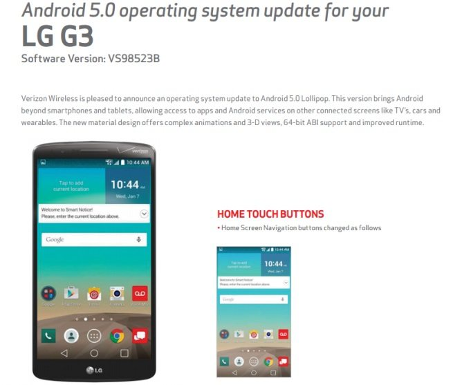 verizon lg g3 android lollipop update