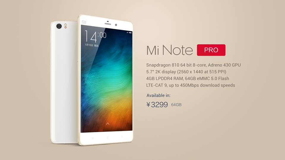 xiaomi mi note pro price, launch, release date, official