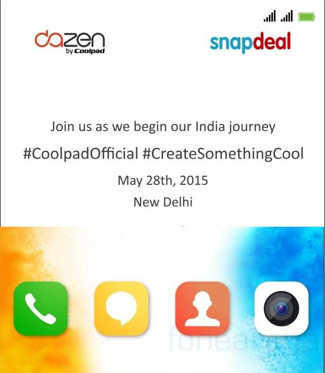 Coolpad dazen, first phone in india, launch event, invites, date