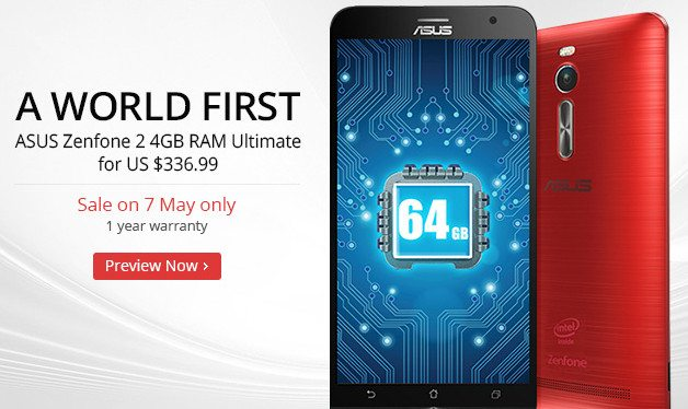 asus zenfone 2 with 4 gb ram, discount, flash sale for one day, aliexpress flash sale