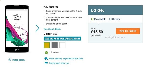 lg g4c, uk preorder, carphone warehouse, contract price, tariff, price in uk, affordable lg g4