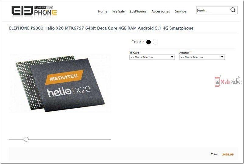 elephone p9000, deca core, mediatek, processor, launch date, release, specs