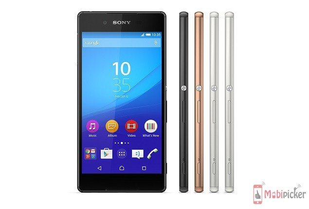 sony xperia z3 plus, side view, front view, specification