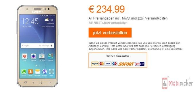 samsung galaxy j5 in germany, price in europe