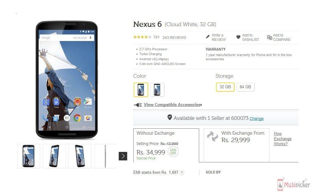 google nexus 6, price, discount, price cut, india, flipkart