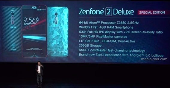 asus zenfone 2 deluxe special edition, 256gb storage, image, specs