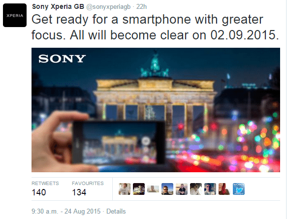sony xperia gb tweet, Sony Confirms a Better Hybrid Autofocus System in the Xperia Z5 Series