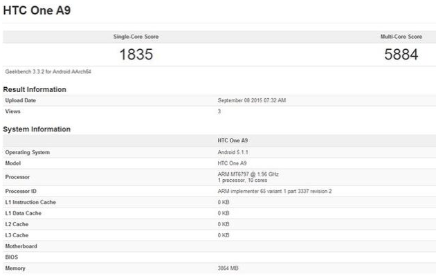 htc one a9 visited geekbench, chipset, ram, leaks