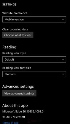 windows 10 mobile build 10536 screenshot