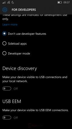 windows 10 mobile build 10536 screenshot