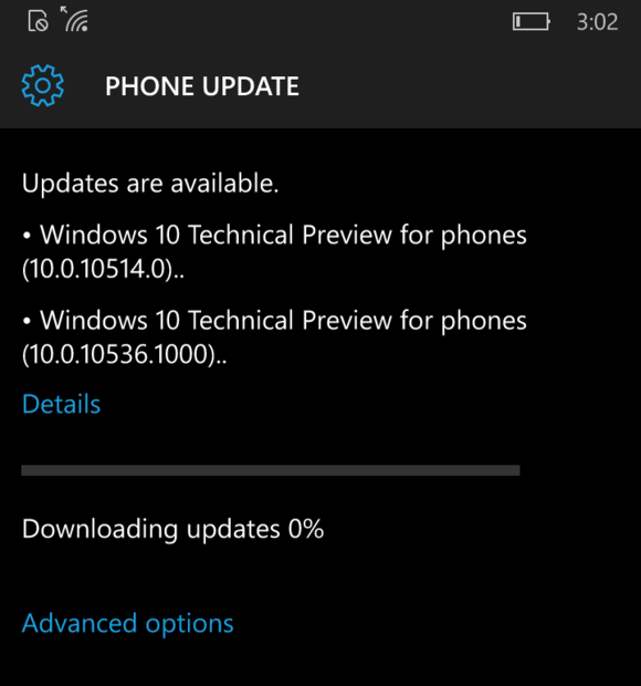 Windoes 10 Mobile build 10536