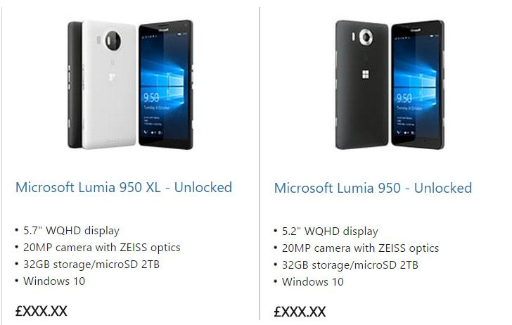 lumia 950 and 950 xl official listing, leaks