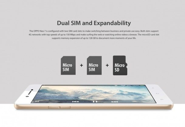 oppo neo 7 dual sim phone with microsd card support