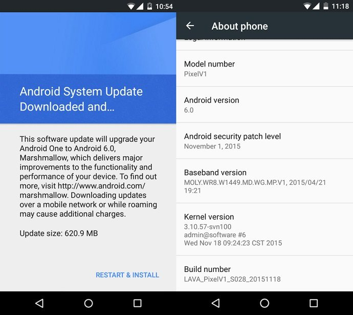 lava pixel v1 android marshmallow update
