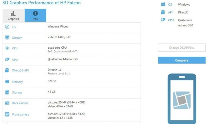 hp falcon, snapdragon 820 windows phone