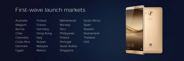 huawei mate 8 launch countries