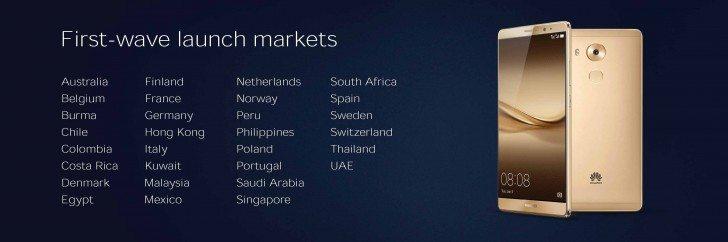 huawei mate 8 launch countries