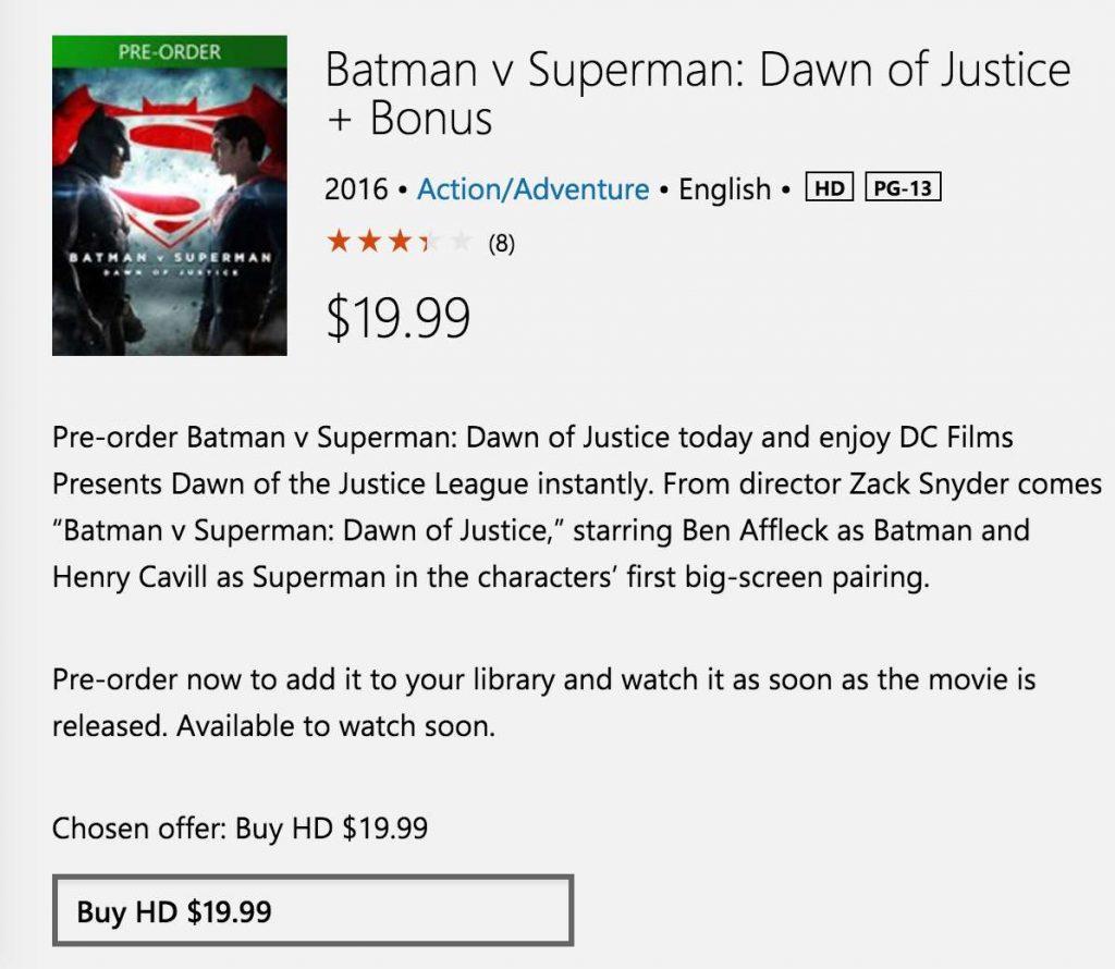 batman vs superman preorder windows store