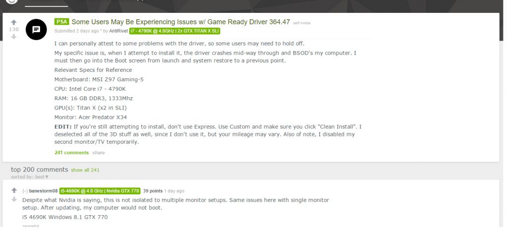 nVidia reddit page