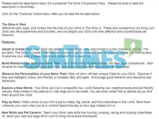 The Sims 4 Pets Survey