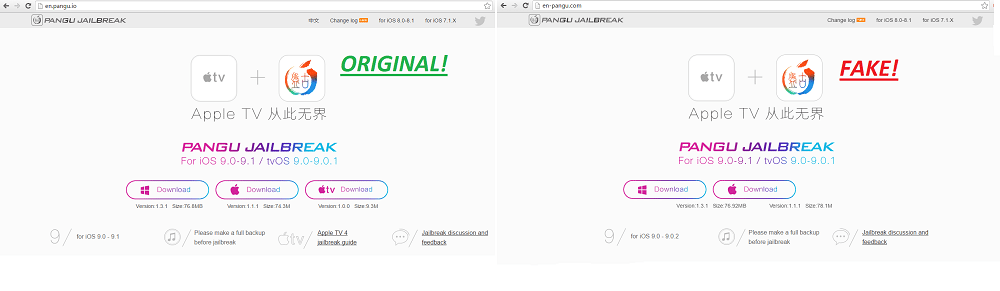 pangu fake site vs original