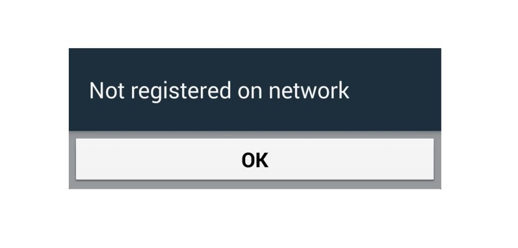how to fix not registered on network error