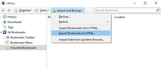 Exporting bookmarks from Firefox