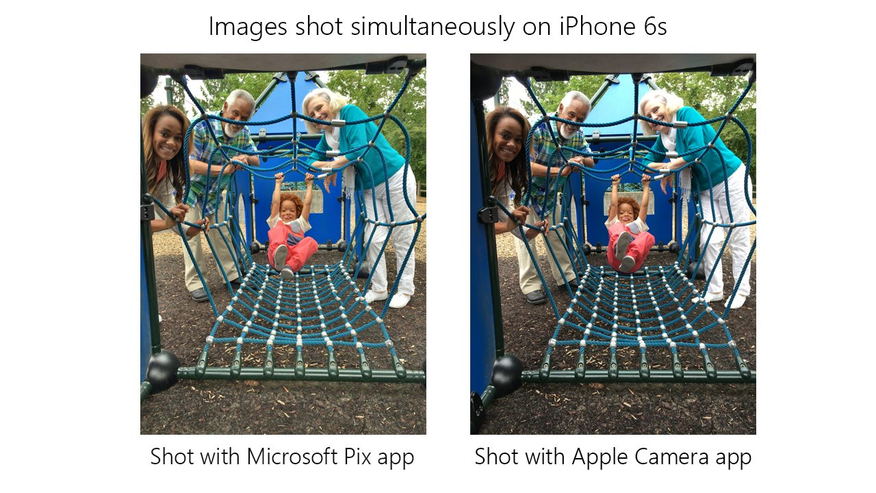 Microsoft pix versus iPhone camera