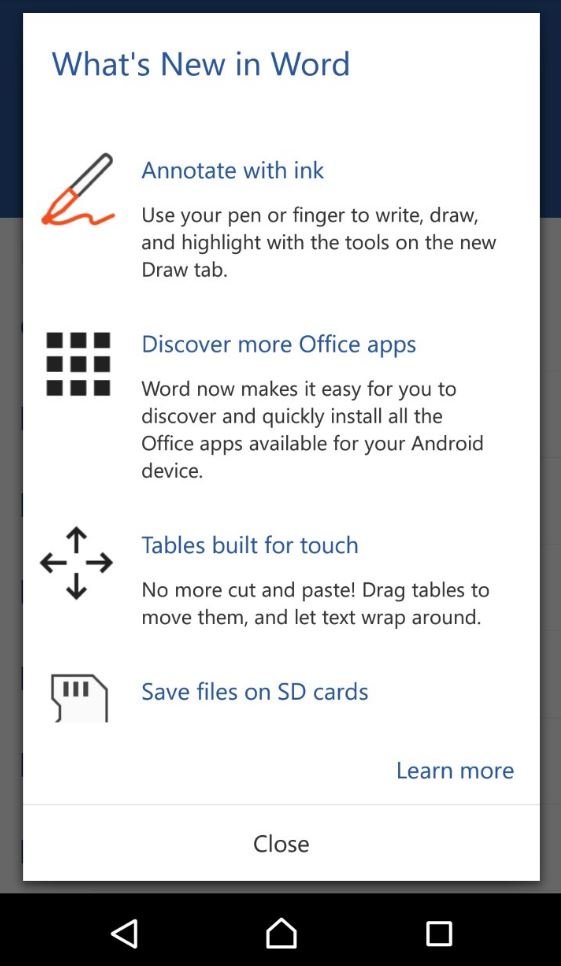 Microsoft Word update homescreen