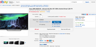 65-inch Sony Android 4K Smart LED TV ebay deal