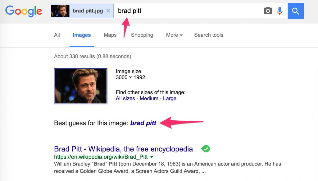 reverse google image search example