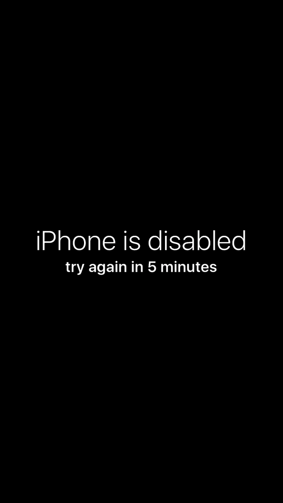 iPhone disabled message