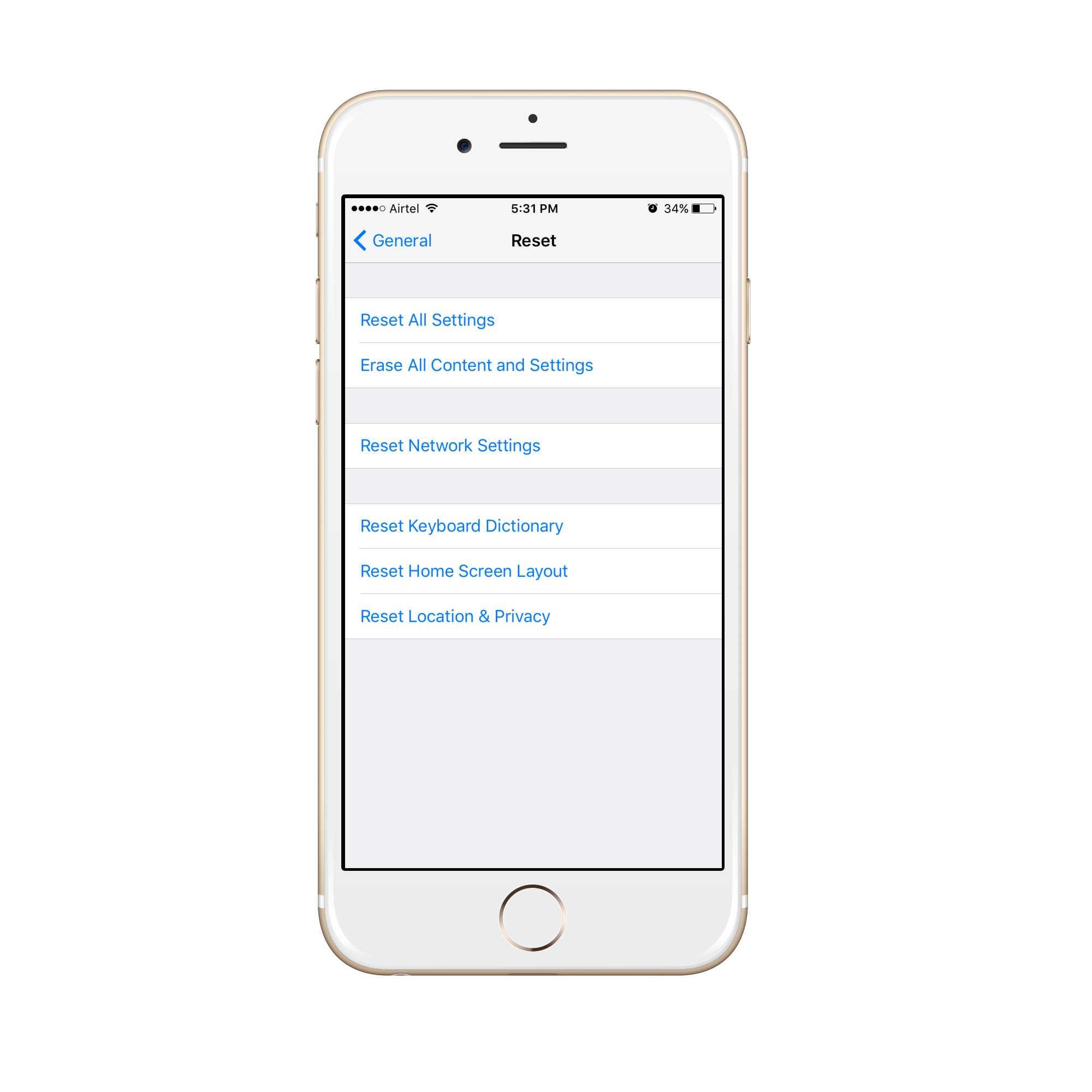 iphone reset settings