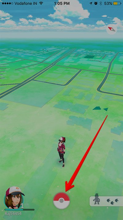 pokemon go tap on pokeball