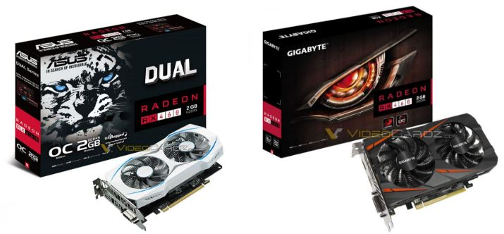 Asus RX 460 Dual and Gigabyte RX 460 (image source: Videocardz.com)
