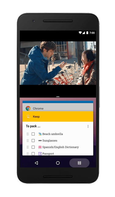 Multi-WIndows Android 7.0 Nougat