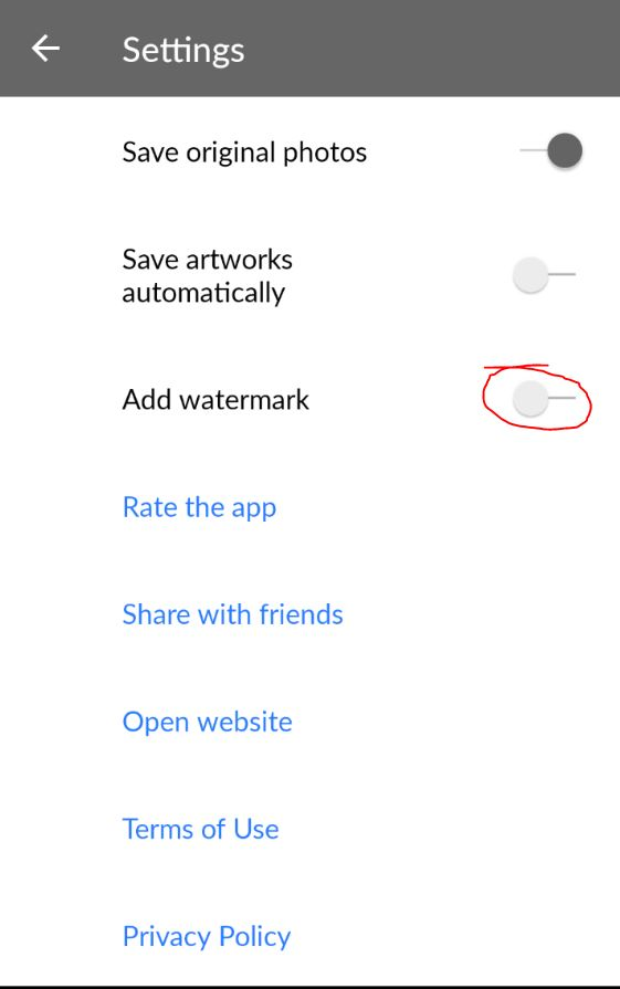 Turn off Add watermark setting