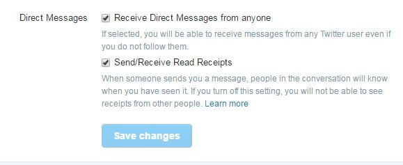 Twitter direct message options