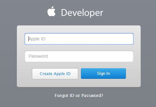 Sign in page of Apple Developer